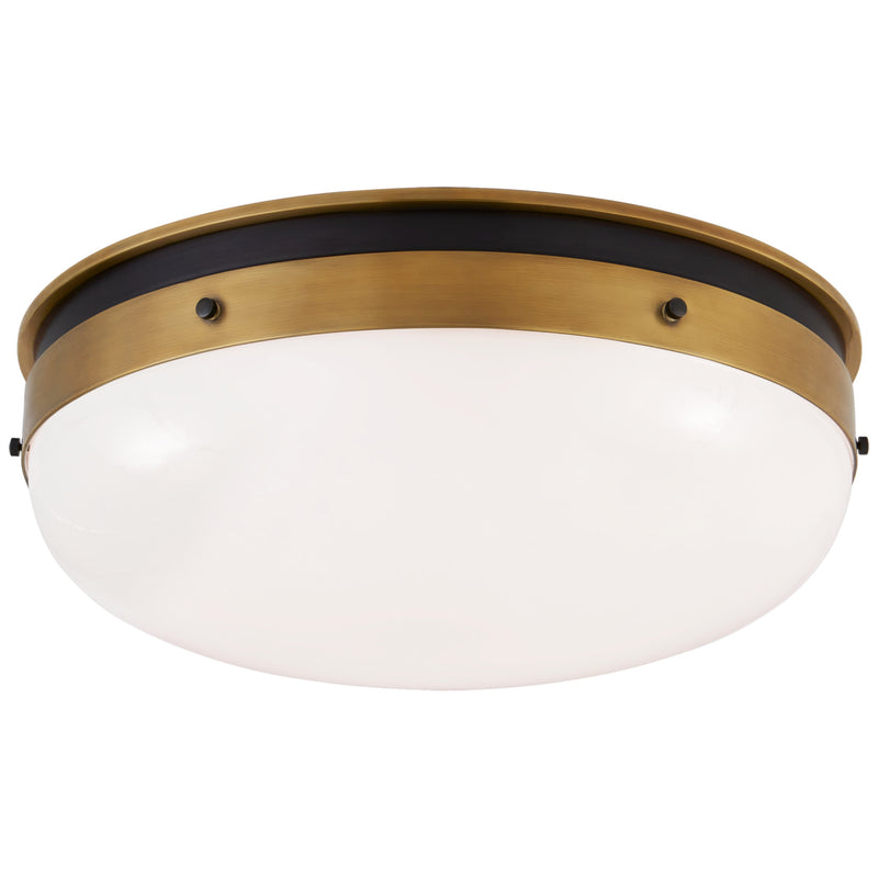 Visual Comfort TOB 4064BZ/HAB-WG Thomas O'Brien Hicks Medium Flush Mount in Bronze and Hand-Rubbed Antique Brass