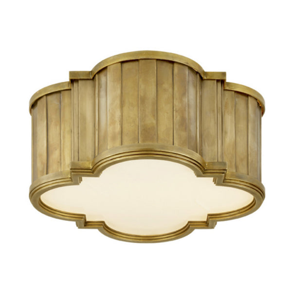 Visual Comfort TOB 4130HAB-WG Thomas O'Brien Modern Tilden Small Flush Mount in Hand-Rubbed Antique Brass