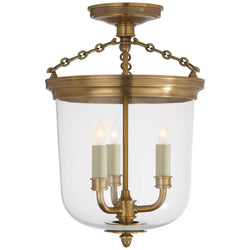 Visual Comfort TOB 4212HAB Thomas O'Brien Merchant Semi-Flush in Hand-Rubbed Antique Brass