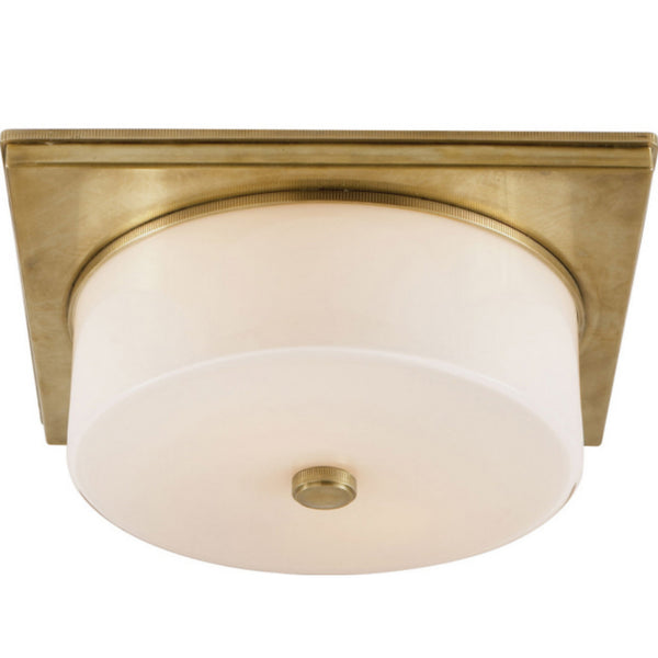 Visual Comfort TOB 4216HAB-WG Thomas O'Brien Modern Newhouse Circular Flush Mount in Hand-Rubbed Antique Brass