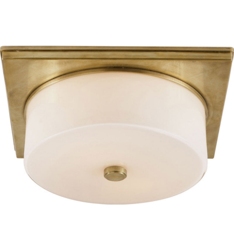 Visual Comfort TOB 4216HAB-WG Thomas O'Brien Newhouse Circular Flush Mount in Hand-Rubbed Antique Brass