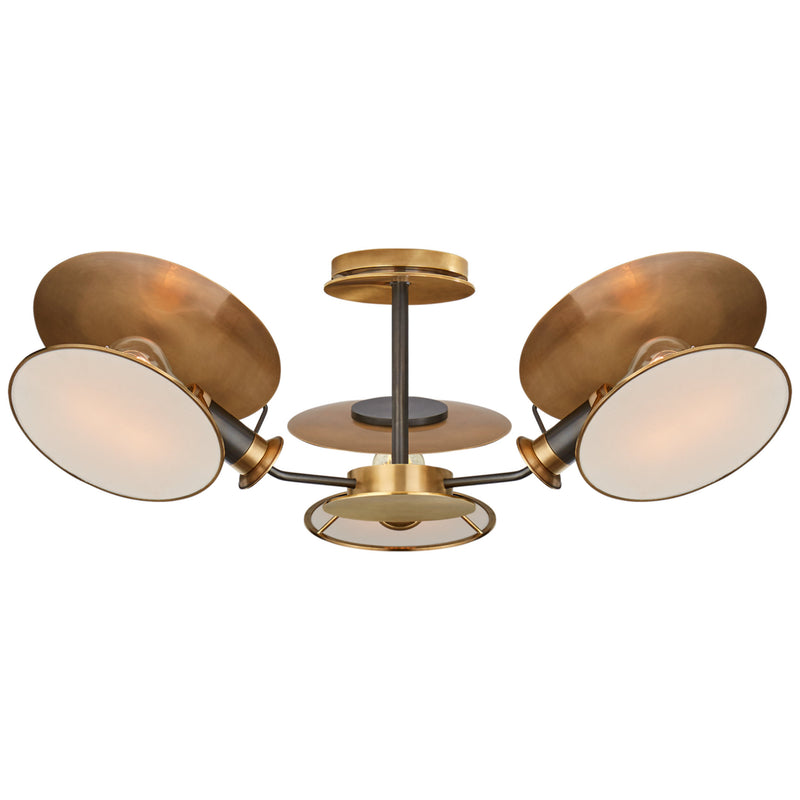 Visual Comfort TOB 4290BZ/HAB-L Thomas O'Brien Osiris Medium Reflector Semi-Flush Mount in Bronze with Antique Brass