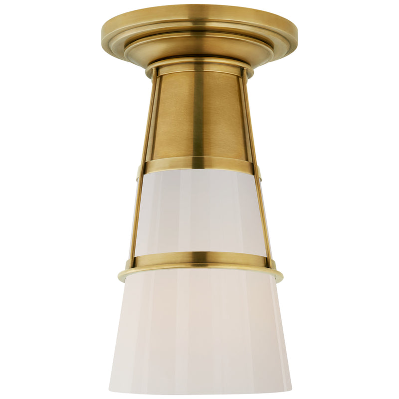 Visual Comfort TOB 4752HAB-WG Thomas O'Brien Robinson Medium Flush in Hand-Rubbed Antique Brass