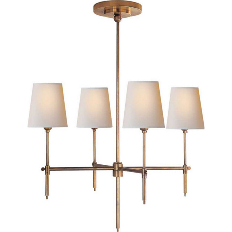 Visual Comfort TOB 5002HAB-NP Thomas O'Brien Bryant Small Chandelier in Hand-Rubbed Antique Brass