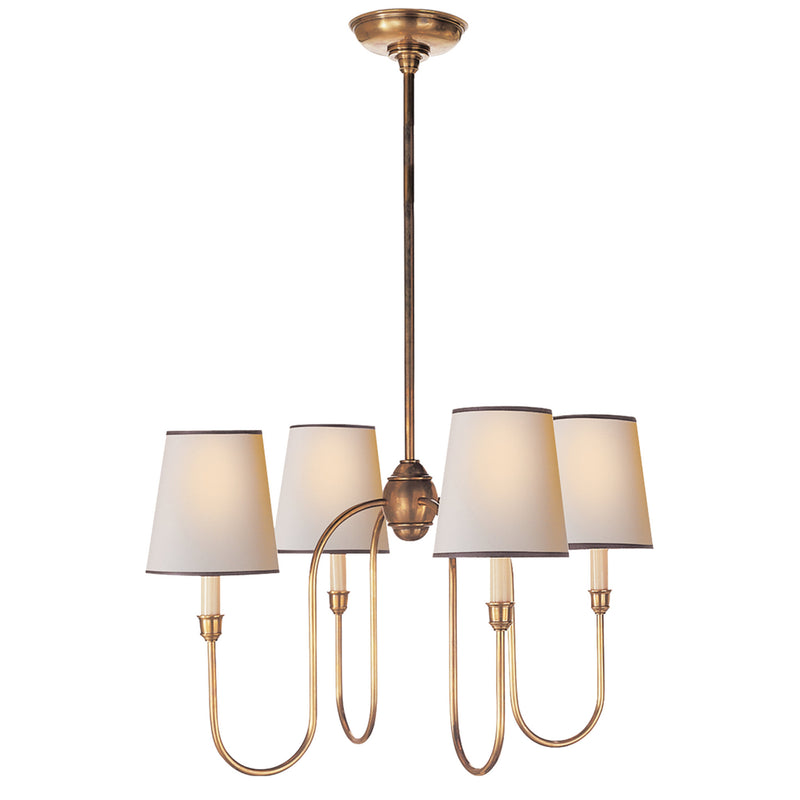 Visual Comfort TOB 5007HAB-NP/BT Thomas O'Brien Vendome Small Chandelier in Hand-Rubbed Antique Brass