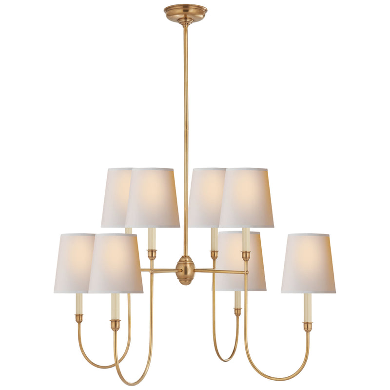 Visual Comfort TOB 5008HAB-NP Thomas O'Brien Vendome Large Chandelier in Hand-Rubbed Antique Brass
