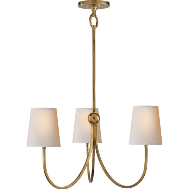 Visual Comfort TOB 5009HAB-NP Thomas O'Brien Reed Small Chandelier in Hand-Rubbed Antique Brass