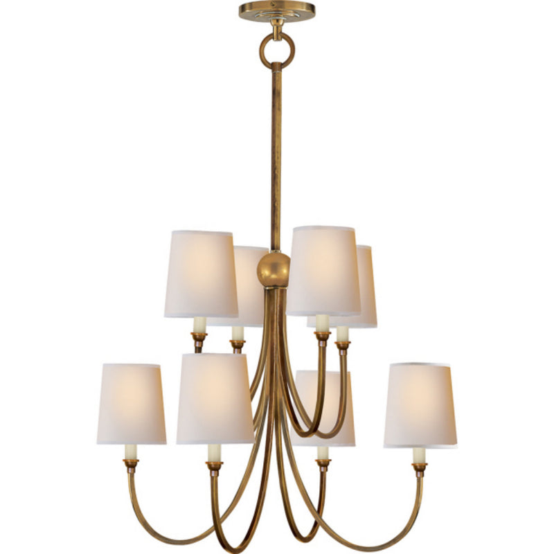 Visual Comfort TOB 5010HAB-NP Thomas O'Brien Reed Large Chandelier in Hand-Rubbed Antique Brass