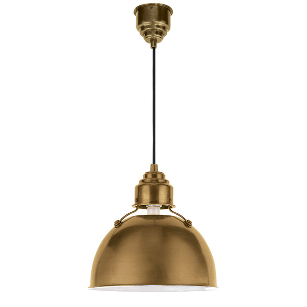 Visual Comfort TOB 5012HAB Thomas O'brien Modern Eugene Small Pendant in Hand-Rubbed Antique Brass