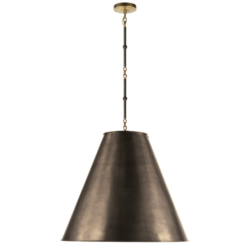 Visual Comfort TOB 5014BZ/HAB-BZ Thomas O'Brien Goodman Large Hanging Lamp in Bronze with Antique Brass