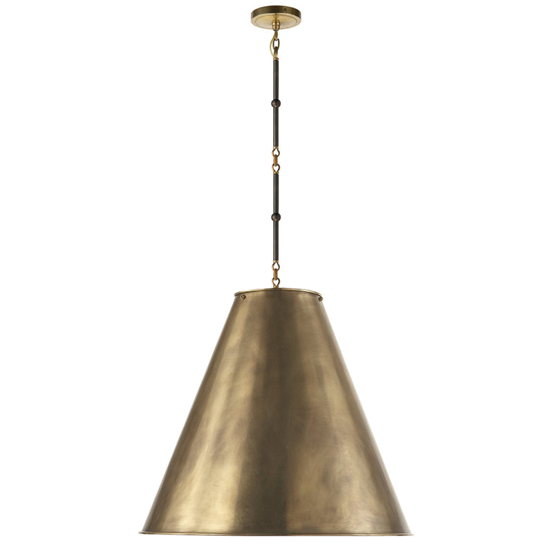 Visual Comfort TOB 5014BZ/HAB-HAB Thomas O'Brien Goodman Large Hanging Lamp in Bronze with Antique Brass