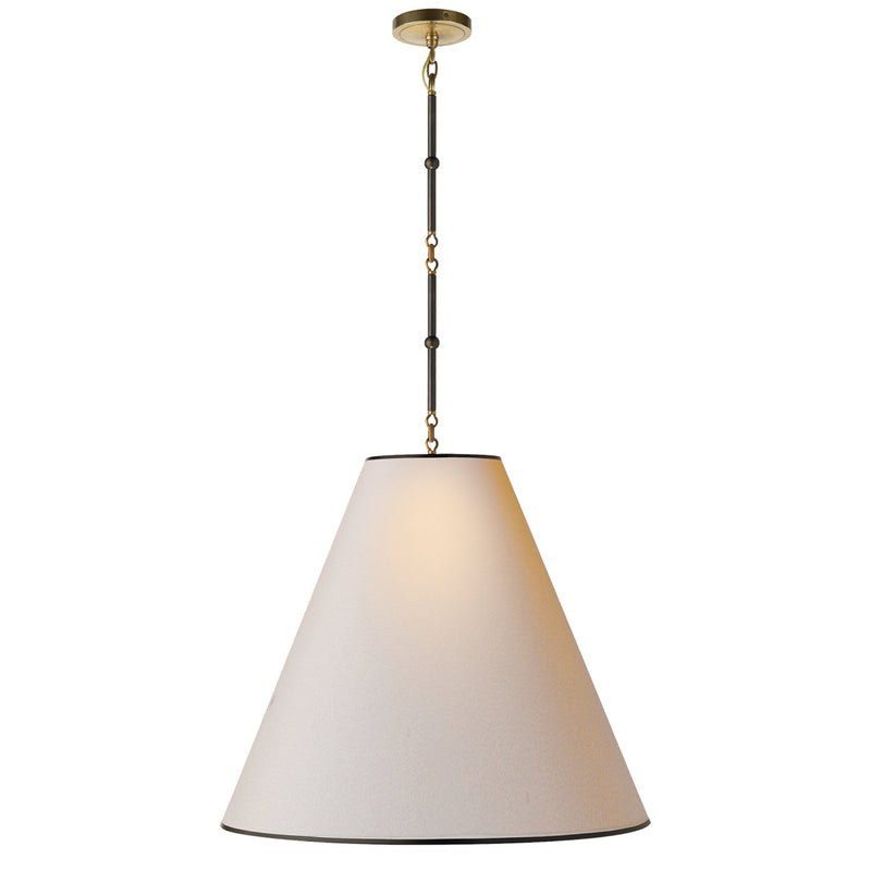 Visual Comfort TOB 5014BZ/HAB-NP/BT Thomas O'Brien Goodman Large Hanging Lamp in Bronze with Antique Brass