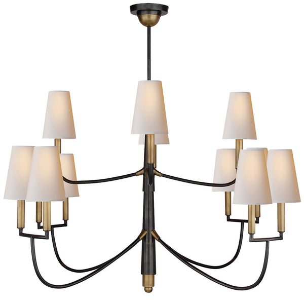 Visual Comfort TOB 5017BZ/HAB-NP Thomas O'Brien Farlane Large Chandelier in Bronze with Antique Brass