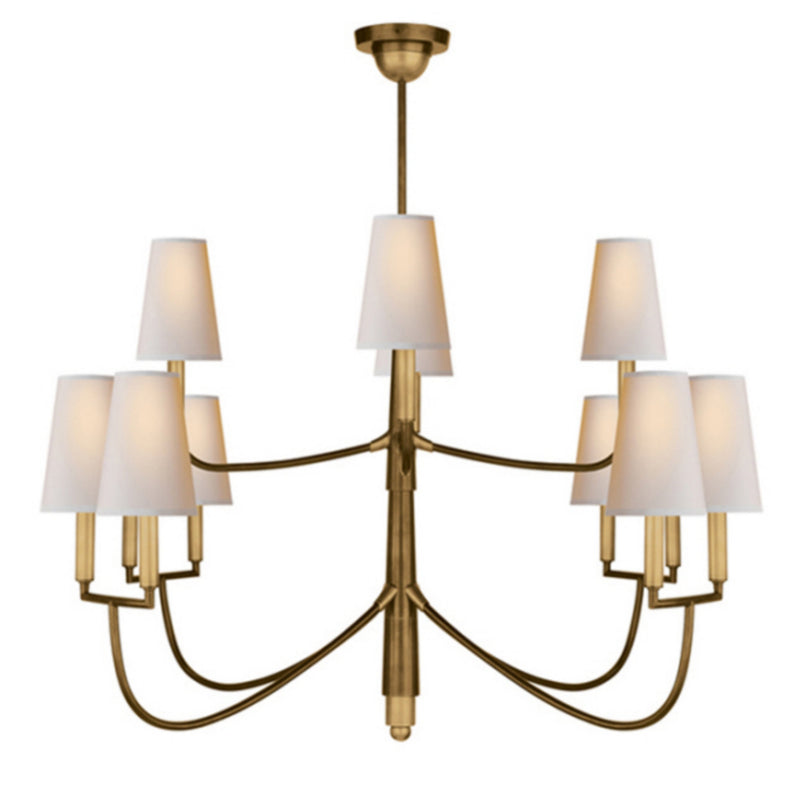 Visual Comfort TOB 5017HAB-NP Thomas O'Brien Farlane Large Chandelier in Hand-Rubbed Antique Brass
