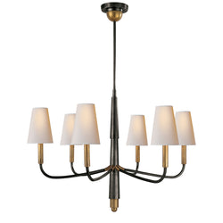Visual Comfort TOB 5018BZ/HAB-NP Thomas O'Brien Farlane Small Chandelier in Bronze with Antique Brass