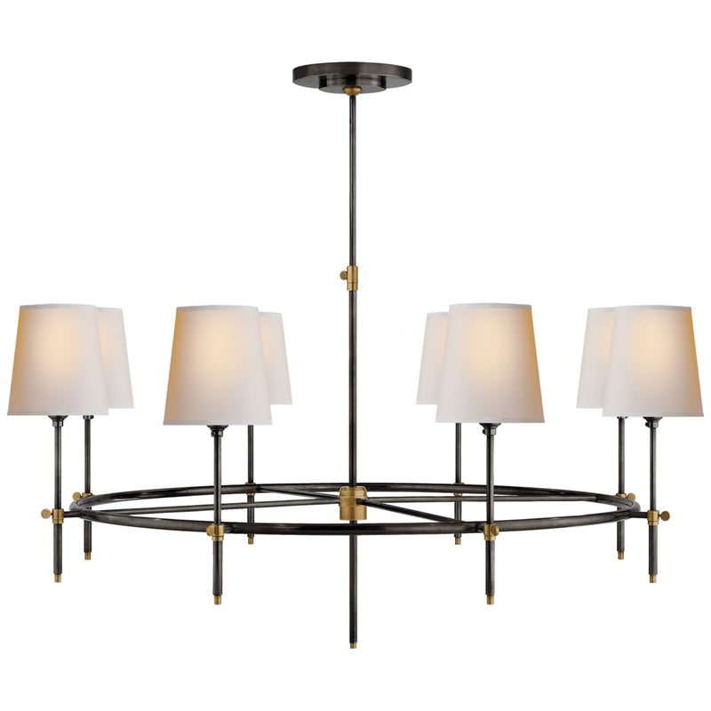 Visual Comfort TOB 5024BZ/HAB-NP Thomas O'Brien Bryant Large Ring Chandelier in Bronze and Hand-Rubbed Antique Brass