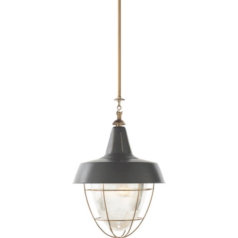Visual Comfort TOB 5042HAB-G Thomas O'Brien Henry Industrial Hanging Light in Hand-Rubbed Antique Brass