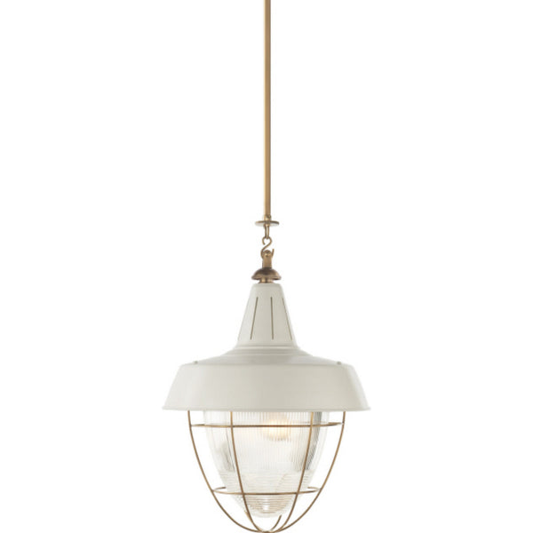 Visual Comfort TOB 5042HAB-WHT Thomas O'Brien Henry Industrial Hanging Light in Hand-Rubbed Antique Brass