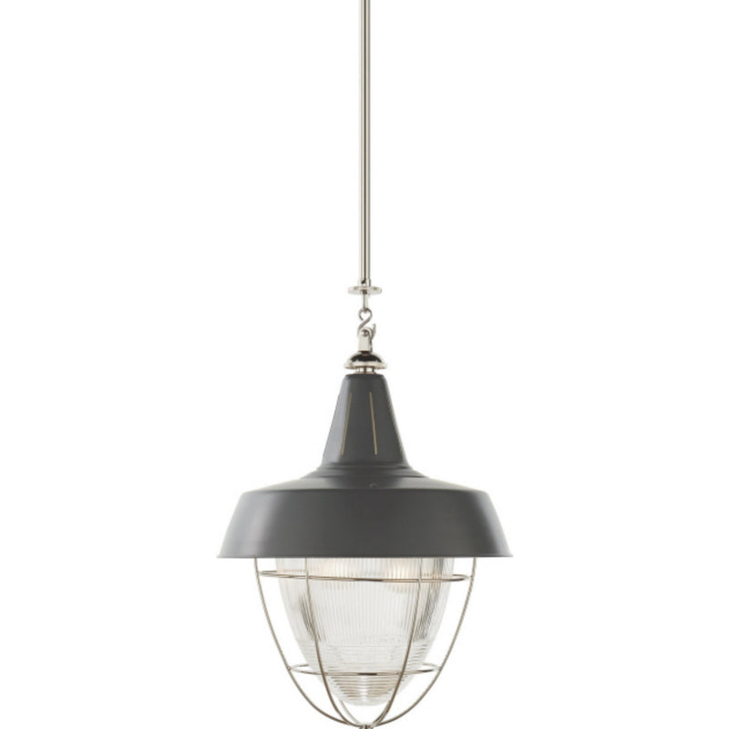 Visual Comfort TOB 5042PN-G Thomas O'Brien Henry Industrial Hanging Light in Polished Nickel