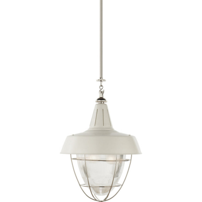 Visual Comfort TOB 5042PN-WHT Thomas O'Brien Henry Industrial Hanging Light in Polished Nickel