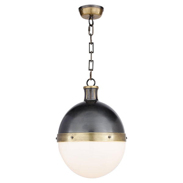 Visual Comfort TOB 5063BZ/HAB-WG Thomas O'Brien Hicks Large Pendant in Bronze with Antique Brass