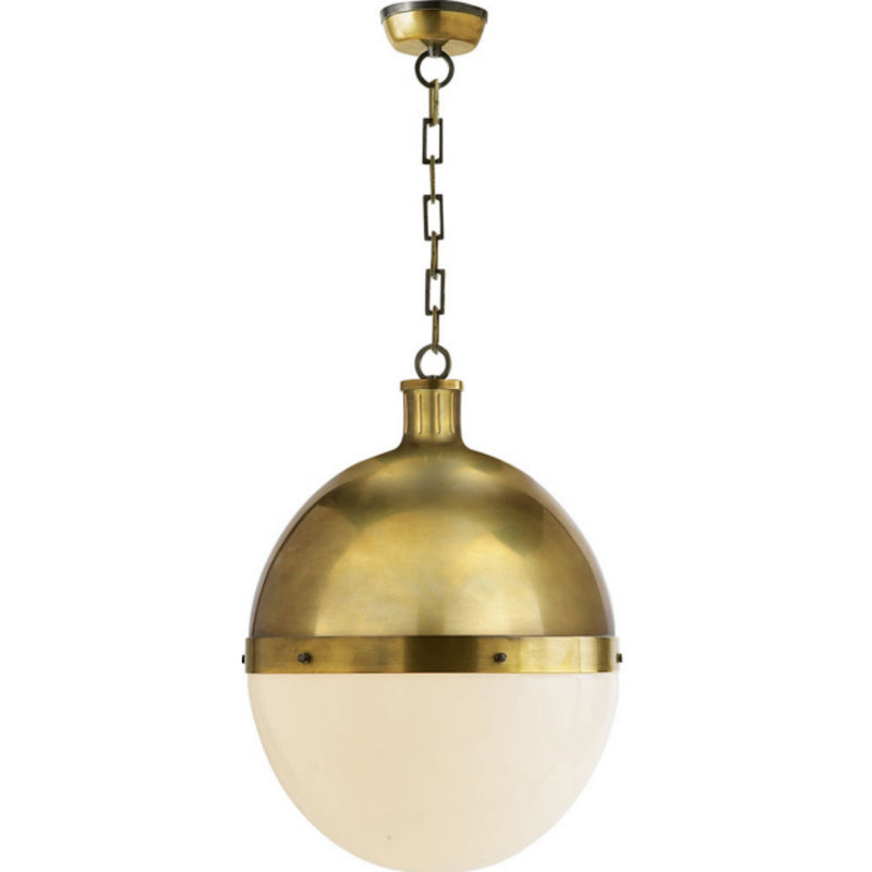 Visual Comfort TOB 5064HAB-WG Thomas O'Brien Hicks Extra Large Pendant in Hand-Rubbed Antique Brass