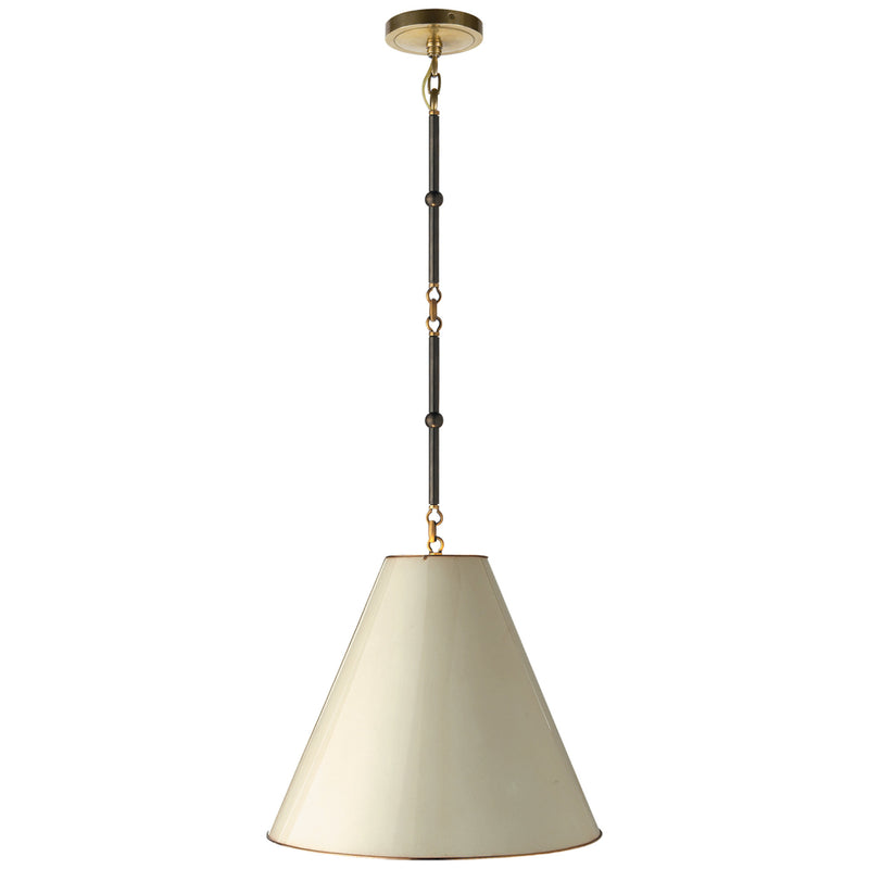 Visual Comfort TOB 5090BZ/HAB-AW Thomas O'Brien Goodman Small Hanging Light in Bronze with Antique Brass