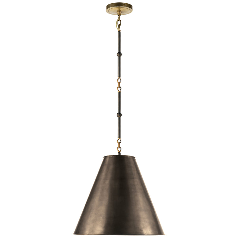 Visual Comfort TOB 5090BZ/HAB-BZ Thomas O'Brien Goodman Small Hanging Light in Bronze with Antique Brass