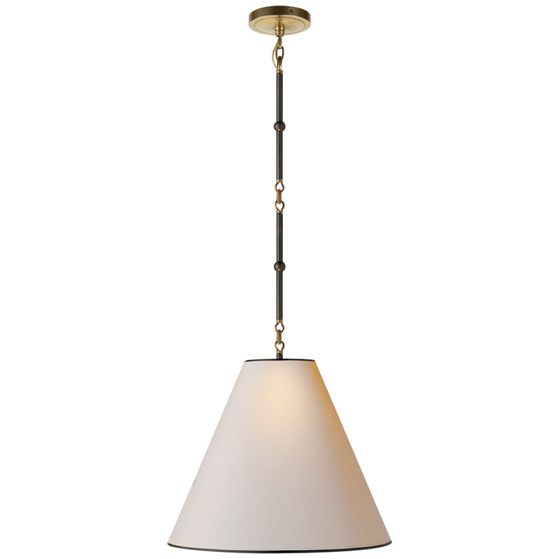 Visual Comfort TOB 5090BZ/HAB-NP/BT Thomas O'Brien Goodman Small Hanging Light in Bronze with Antique Brass