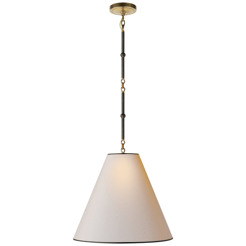 Visual Comfort TOB 5091BZ/HAB-NP/BT Thomas O'Brien Goodman Medium Hanging Light in Bronze with Antique Brass