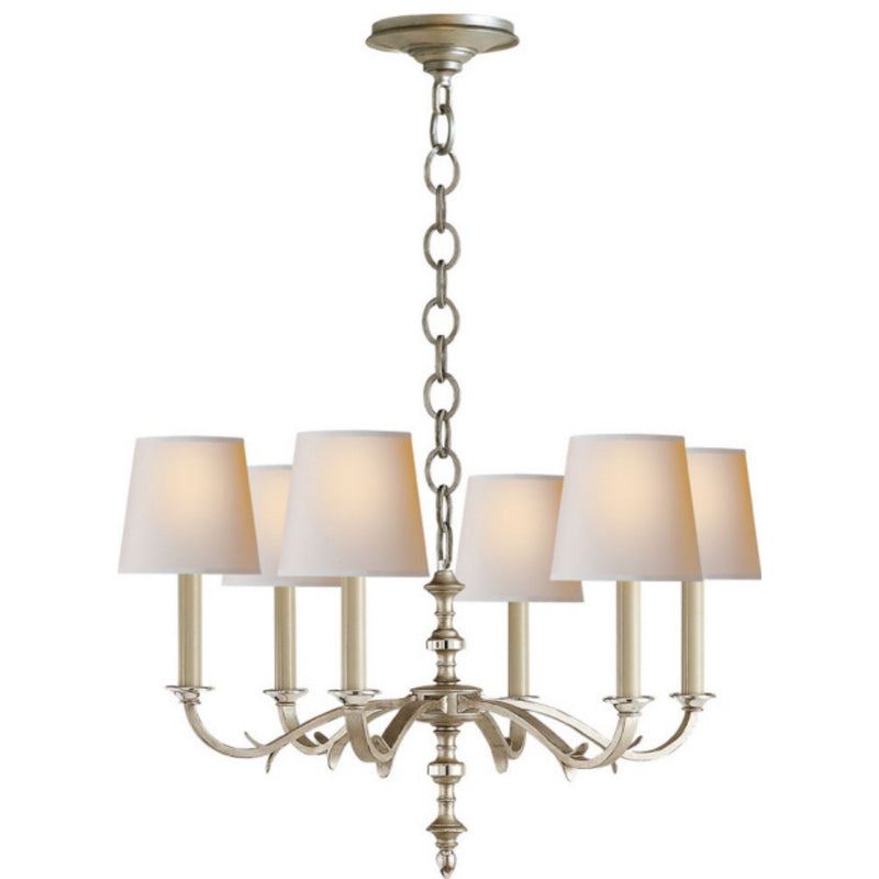 Visual Comfort TOB 5119BSL-NP Thomas O'Brien Channing Small Chandelier in Burnished Silver Leaf