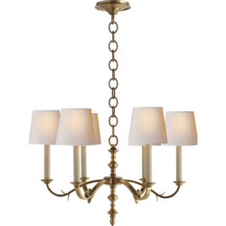 Visual Comfort TOB 5119HAB-NP Thomas O'Brien Channing Small Chandelier in Hand-Rubbed Antique Brass