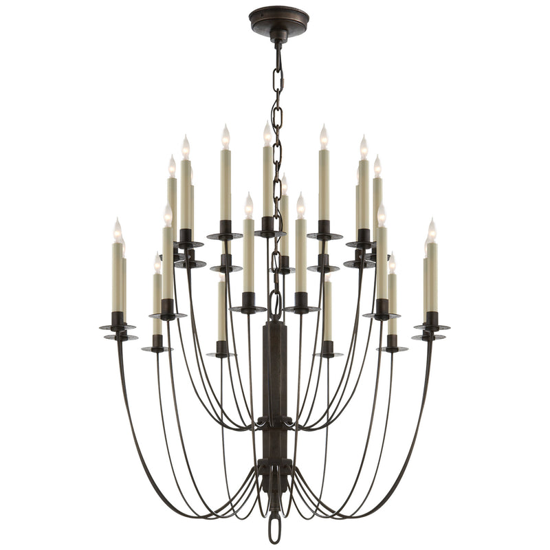 Visual Comfort TOB 5205AI Thomas O'Brien Erika Two-Tier Chandelier in Aged Iron
