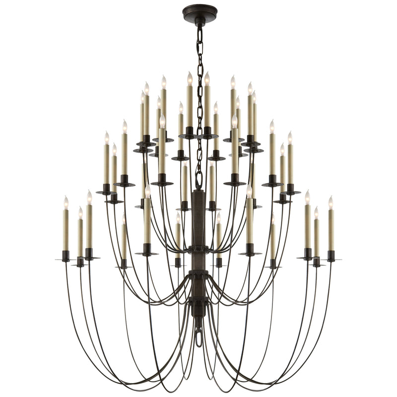Visual Comfort TOB 5206AI Thomas O'Brien Erika Three-Tier Chandelier in Aged Iron