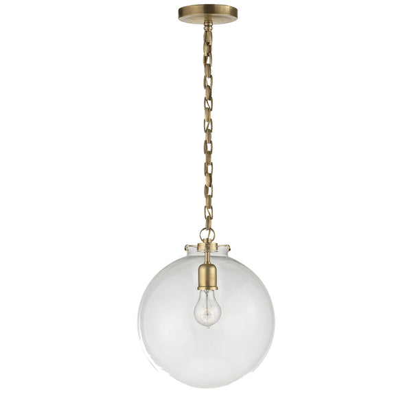 Visual Comfort TOB 5226HAB/G4-CG Thomas O'Brien Katie Globe Pendant in Hand-Rubbed Antique Brass
