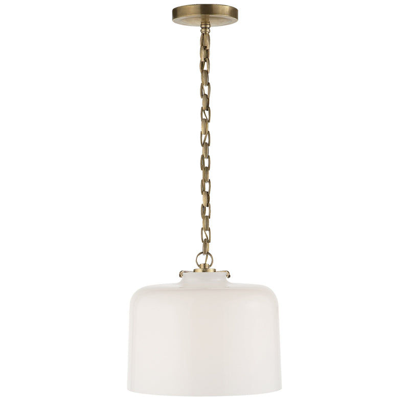 Visual Comfort TOB 5226HAB/G5-WG Thomas O'Brien Katie Dome Pendant in Hand-Rubbed Antique Brass