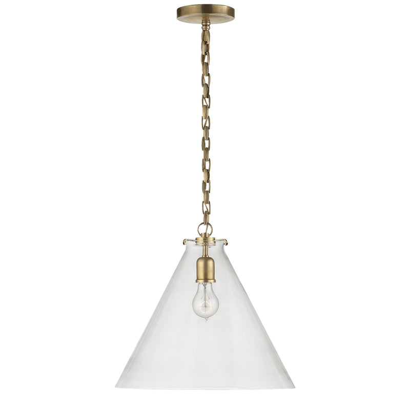 Visual Comfort TOB 5226HAB/G6-CG Thomas O'Brien Katie Conical Pendant in Hand-Rubbed Antique Brass