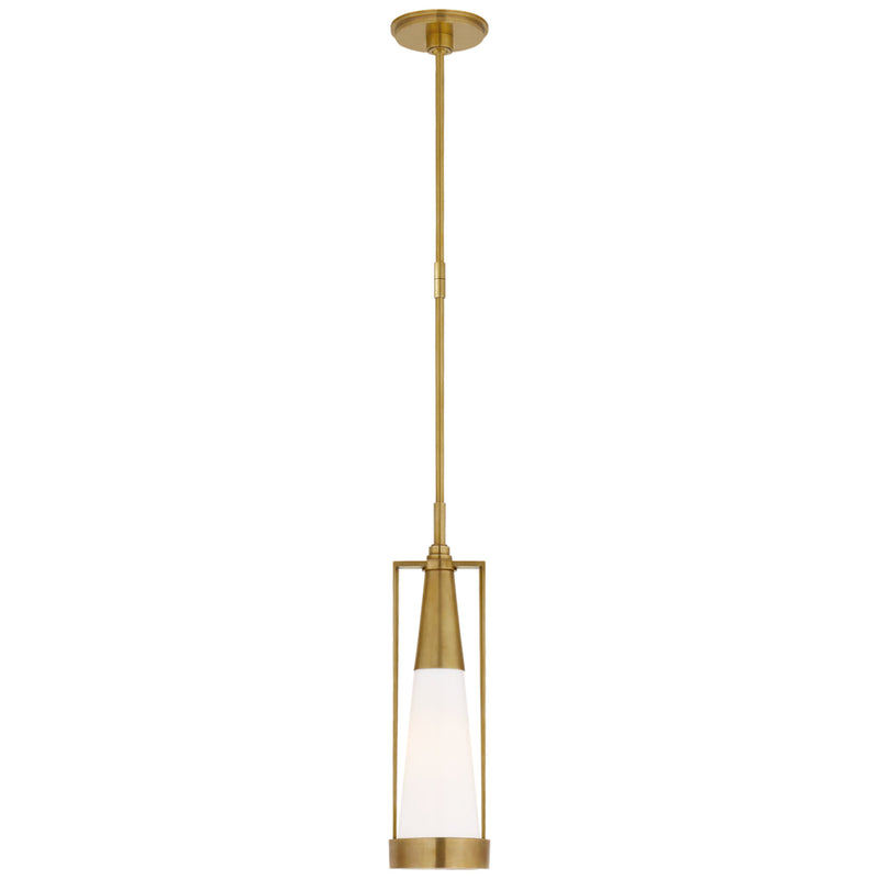 Visual Comfort TOB 5275HAB-WG Thomas O'Brien Calix Small Pendant in Hand-Rubbed Antique Brass