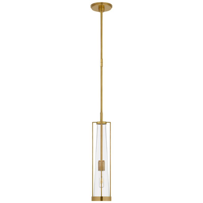 Visual Comfort TOB 5276HAB-CG Thomas O'Brien Calix Tall Pendant in Hand-Rubbed Antique Brass