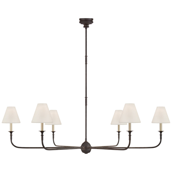 Visual Comfort TOB 5452AI/EBO-L Thomas O'Brien Piaf Grande Chandelier in Aged Iron and Ebonized Oak