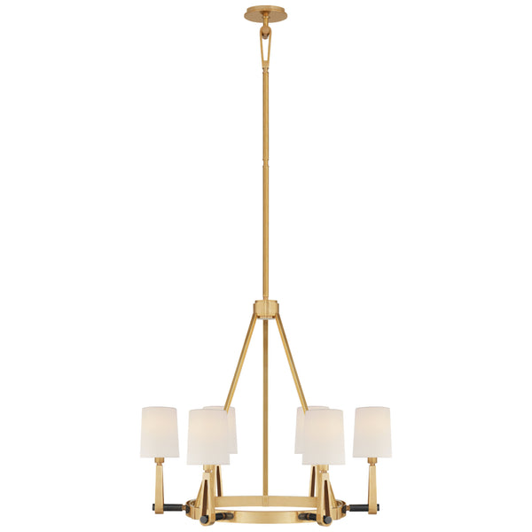 Visual Comfort TOB 5510HAB/BZ-L Thomas O'Brien Alpha Medium Chandelier in Hand-Rubbed Antique Brass and Bronze