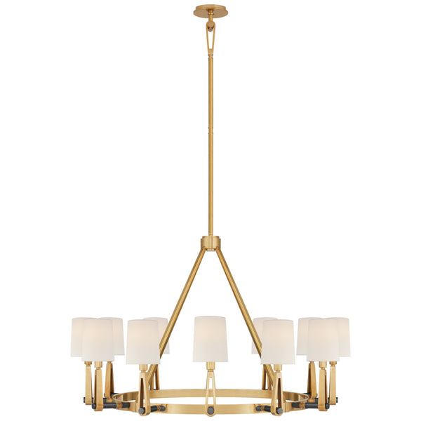Visual Comfort TOB 5512HAB/BZ-L Thomas O'Brien Alpha Grande Chandelier in Hand-Rubbed Antique Brass and Bronze