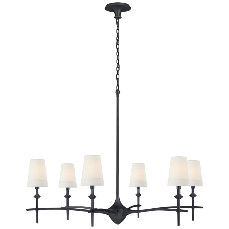 Visual Comfort TOB 5737AI-L Thomas O'Brien Pippa Grande Chandelier in Aged Iron