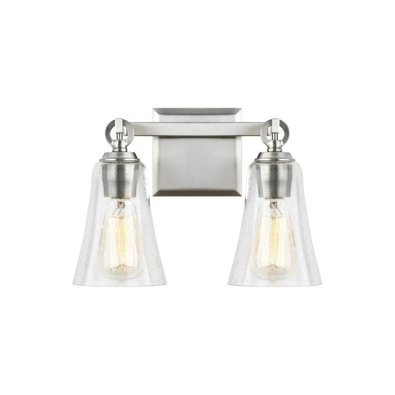 Generation Lighting VS24702SN Feiss Monterro 2 Light Wall / Bath Light in Satin Nickel