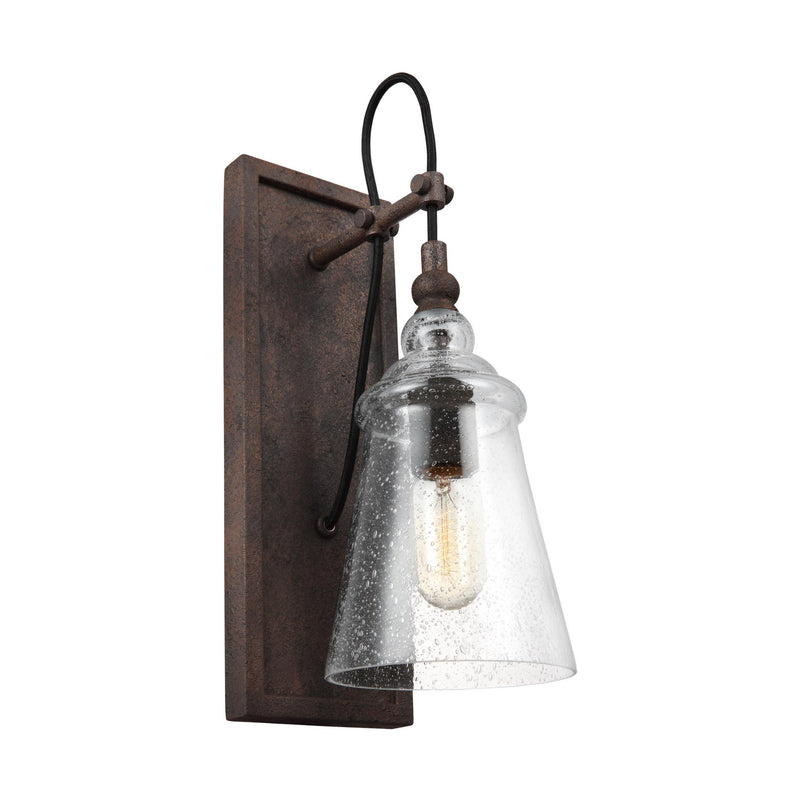 Generation Lighting WB1850DWI Feiss Loras 1 Light Wall / Bath Light in Dark Weathered Iron