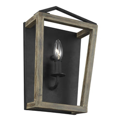 Generation Lighting WB1877WOW/AF Feiss Gannet 1 Light Wall / Bath Light in Weathered Oak Wood / Antique Forged Iron