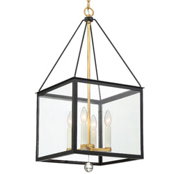 Crystorama WES-9905-BK-GA Weston Lantern in Black + Antique Gold