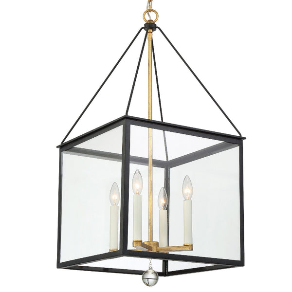 Crystorama WES-9907-BK-GA Weston Lantern in Black + Antique Gold