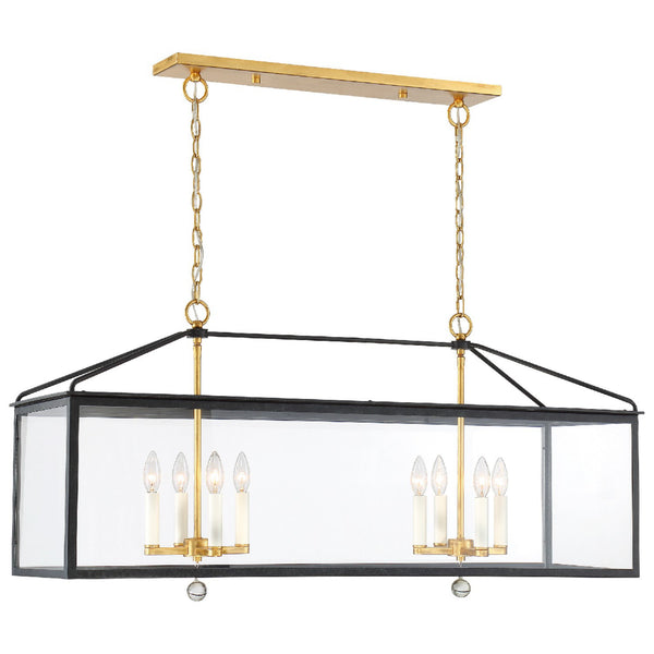 Crystorama WES-9909-BK-GA Weston Lantern in Black + Antique Gold