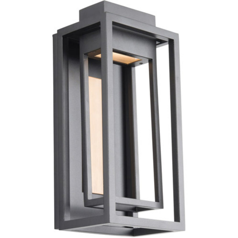 Modern Forms WS-W57014-BK/AB 3000K 5.5 Watt Dorne LED Outdoor Wall Light in Black & Aged Brass